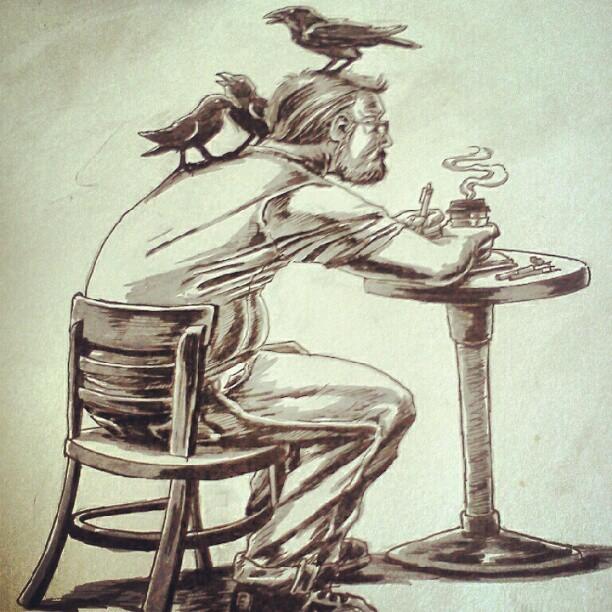 The coffee is black… Fun w/ brush pens! (Taken with Instagram)