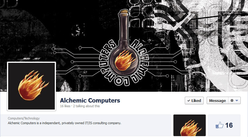 Check out Roger Quignon's Facebook page for his new custom PC, IT/IS company: Alchemic Computers. Featuring custom logo and Facebook graphics work by Coffee:Black Illustration. https://www.facebook.com/AlchemicComputers