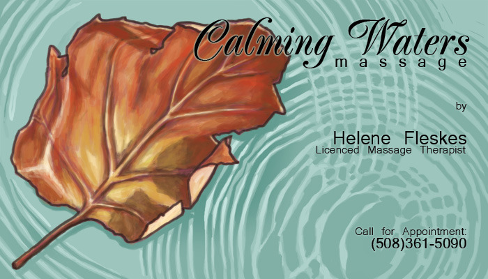 New business card design I did for Calming Waters Massage Therapy in Needham, MA.
