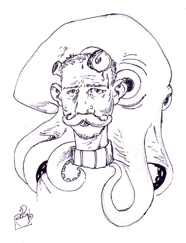 """Drawing I did for the Bureau of Drawers live drawing event, Economy of Line 2, that took place last night at UrbanLight Studios in Greenwood, Seattle, WA. I gave myself a theme for the night, """"Monsters & Their Victims,"""" this one is an old-timey sailor who is being """"bad touched"""" by a small but very curios Leviathan."""