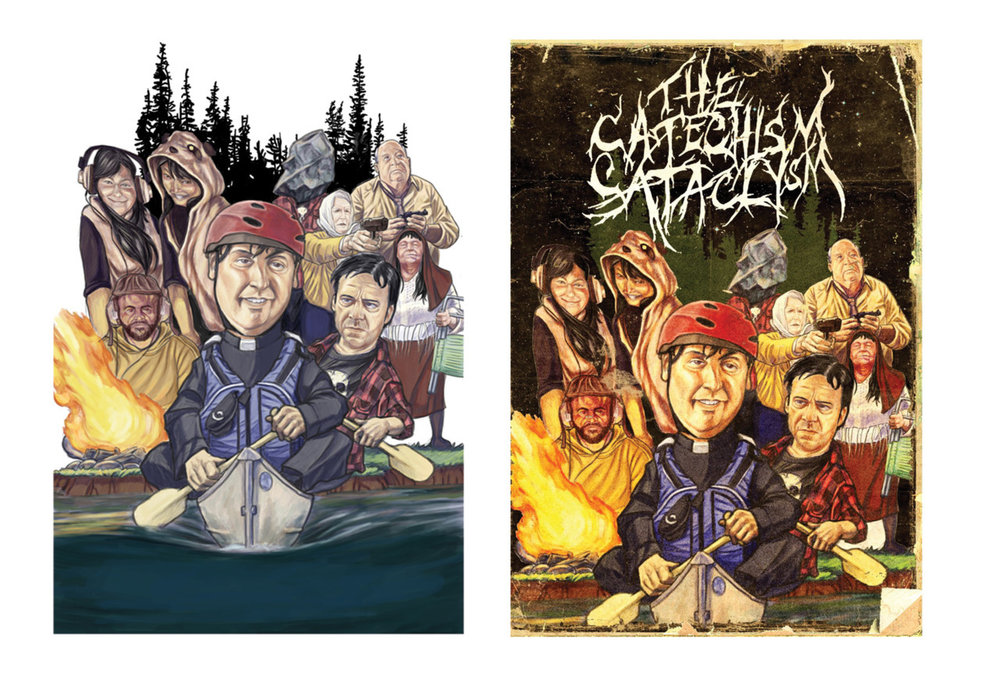 I just got word that the movie I did the DVD Box art for, The Catechism Cataclysm is now available for pre-order on Amazon.com. I would recommend everyone who likes a good, strange and funny dark comedy check this out, you also get the added bonus of owning my first nationally distributed DVD box illustration. Hopefully there will be many more to come. You can click the image or click this link to view reviews: The Catechism Cataclysm on Amazon.com