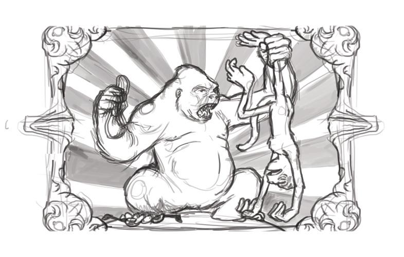Beginning sketch for product label design commission.