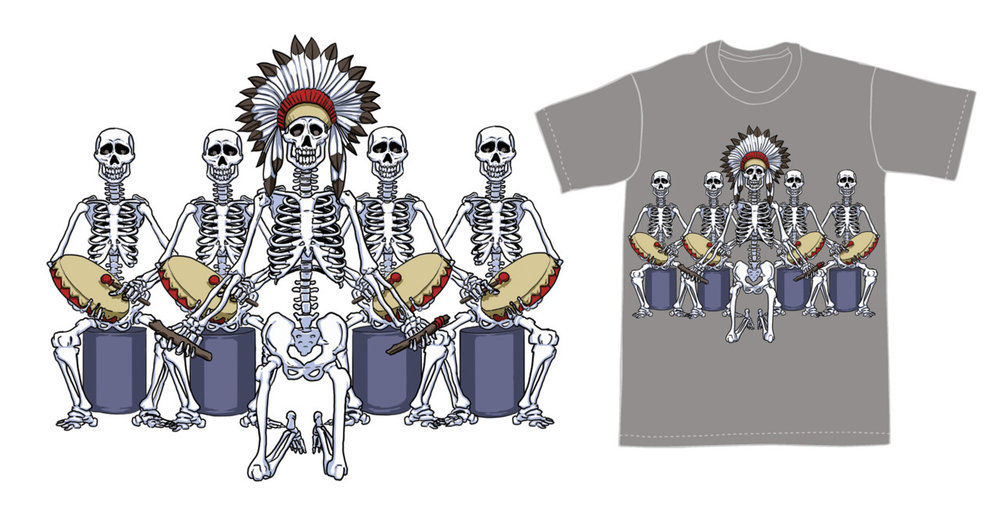 Final version, with and without template of the Rez Side t-shirt design.