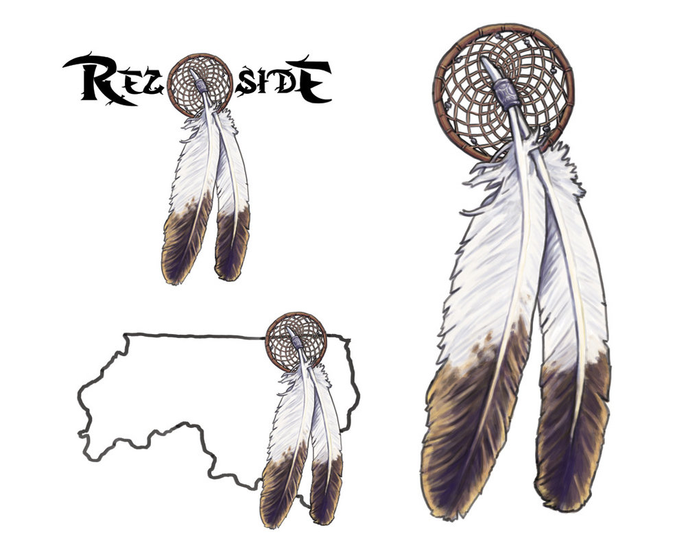 Final color variations of the Rez Side logo design, also threw in a close up of the finished spot illustration.