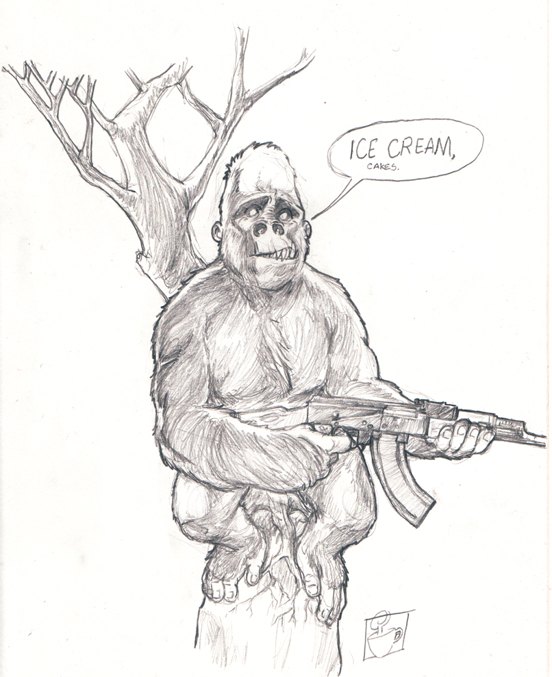 A gorilla with an AK-47, I've had monkeys and apes on the brain recently so this seemed like a good doodle for the Bureau of Drawers.