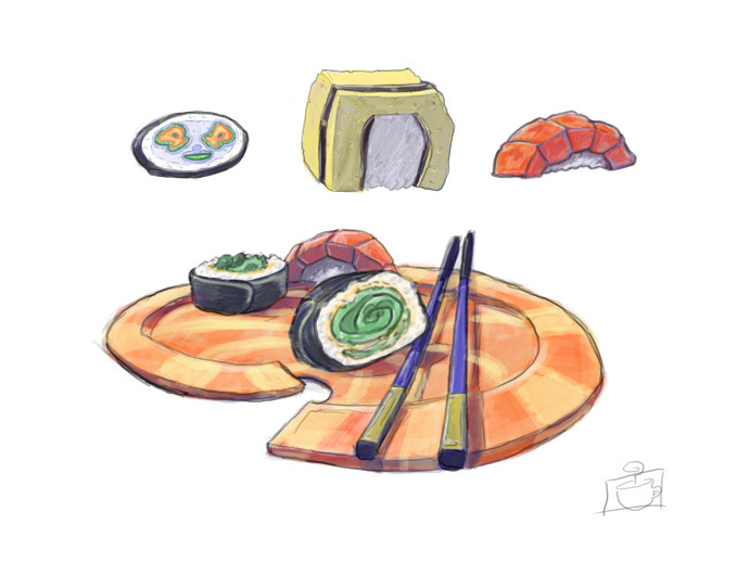 Sushi rough for possible game job.