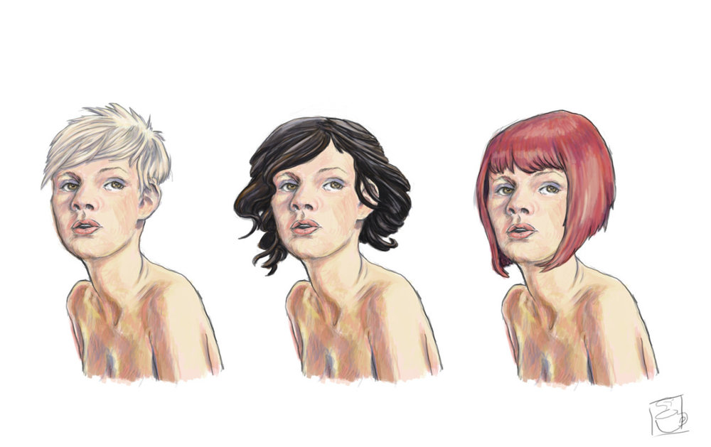 Head shot with variant hairstyles for possible game industry job.