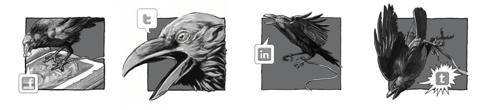 All four custom social networking buttons in sequence.