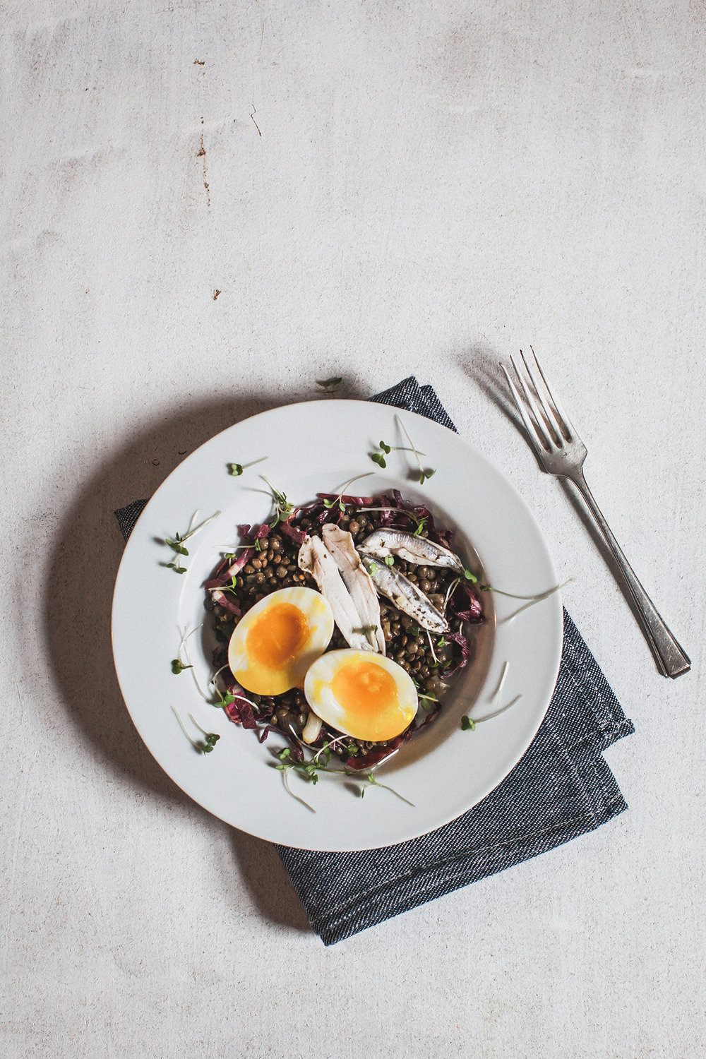 Puy lentil, anchovy and soft egg salad. Retreat // Food and lifestyle blog based in Sussex. Photography by Emma Gutteridge.