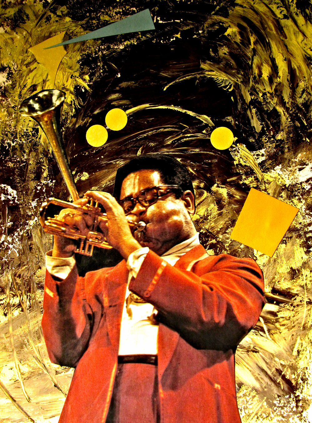 Dizzy Gillespie Acrylic Whirlwind with cut and paste