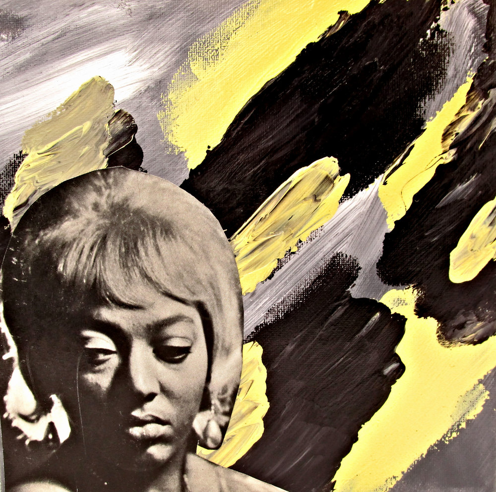 lorez alexandria - 8 x 8 canvas - acrylic background with image from cover of Downbeat Magazine, early 1960s - $30 plus shipping