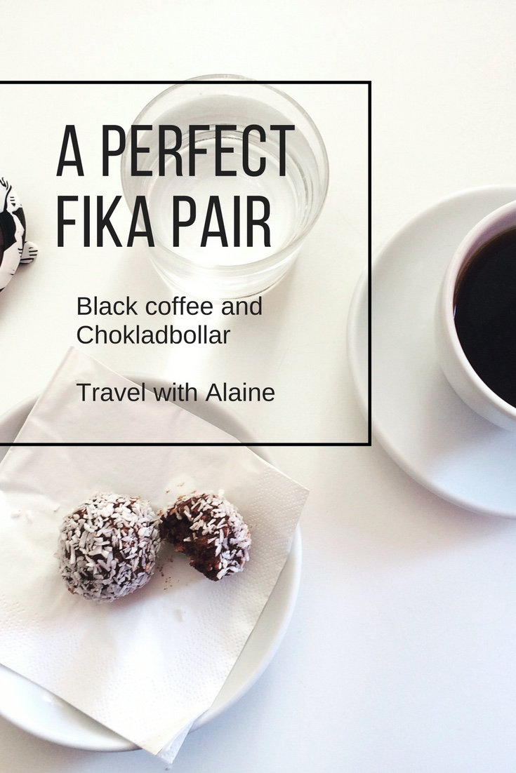 Fika with black coffee and chokladbollar at Koppi cafe in Helsingborg, Sweden.
