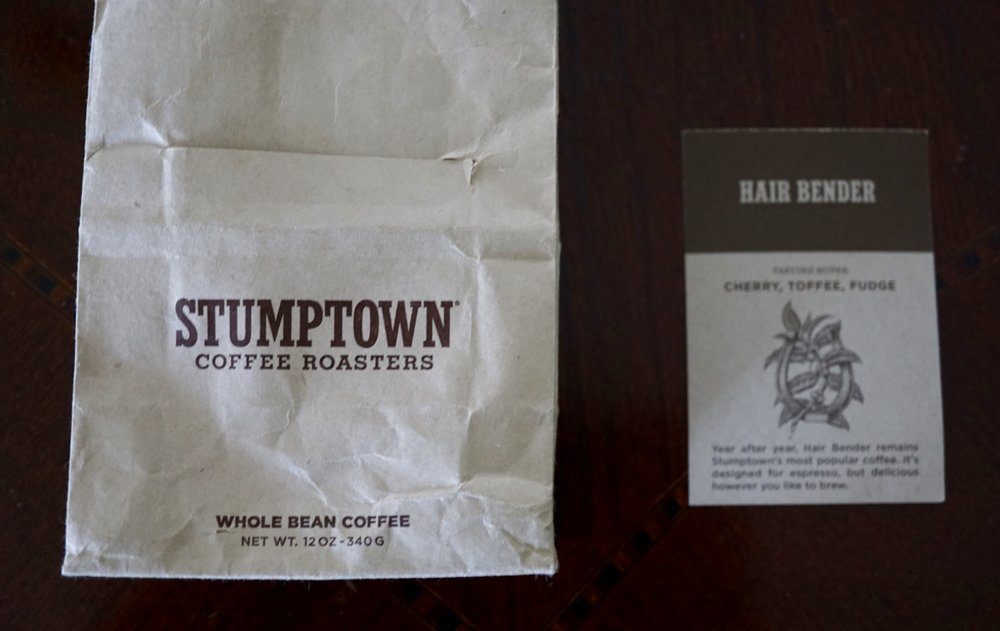 Stumptown coffee - Hair Bender is the name of the blend. This is their best selling blend. My friend from Brooklyn brought me a bag and I'm totally hooked on their coffee. A medium roast with toffee notes. I think it is a good coffee for making chokladbollar. Stumptown Coffee roasters