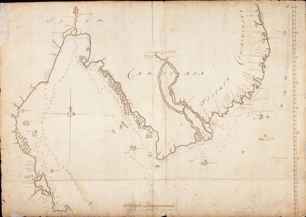 Map of Thailand and Cambodia (between 1690-1743)