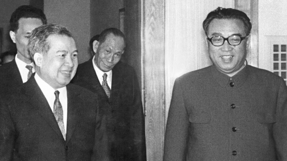 "Norodom Sihanouk, former King of Cambodia (left) is welcomed on April 22, 1975, in Pyongyang by North Korean President and ""Great Leader"" Kim Il Sung (right). Photo: AFP"