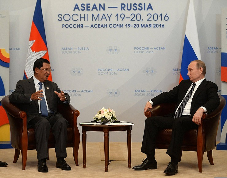 President of the Russian Federation Vladimir Putin and Prime Minister of Cambodia Hun Sen at the ASEAN-Russia Summit in Sochi May 2016; Image:  Kremlin.ru