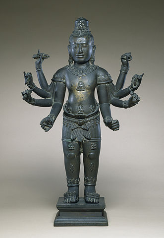 This figure of the Bodhisattva of Compassion is a bronze replica of one of the twenty-three stone images King Jayavarman VII sent to different parts of the kingdom in 1191 in a celebration of the compassion the king attributed to his own father. ca. 12th-13th century (Bàyon).  Walter Art Museum/Wikimedia Commons . CC BY 3.0  In Theravada Buddhism, a benevolent king is seen as the fountain of justice. According to Stanley J Tambiah, this view affirms the role of kingship as the expression of dharma and as the ordering principle of society.