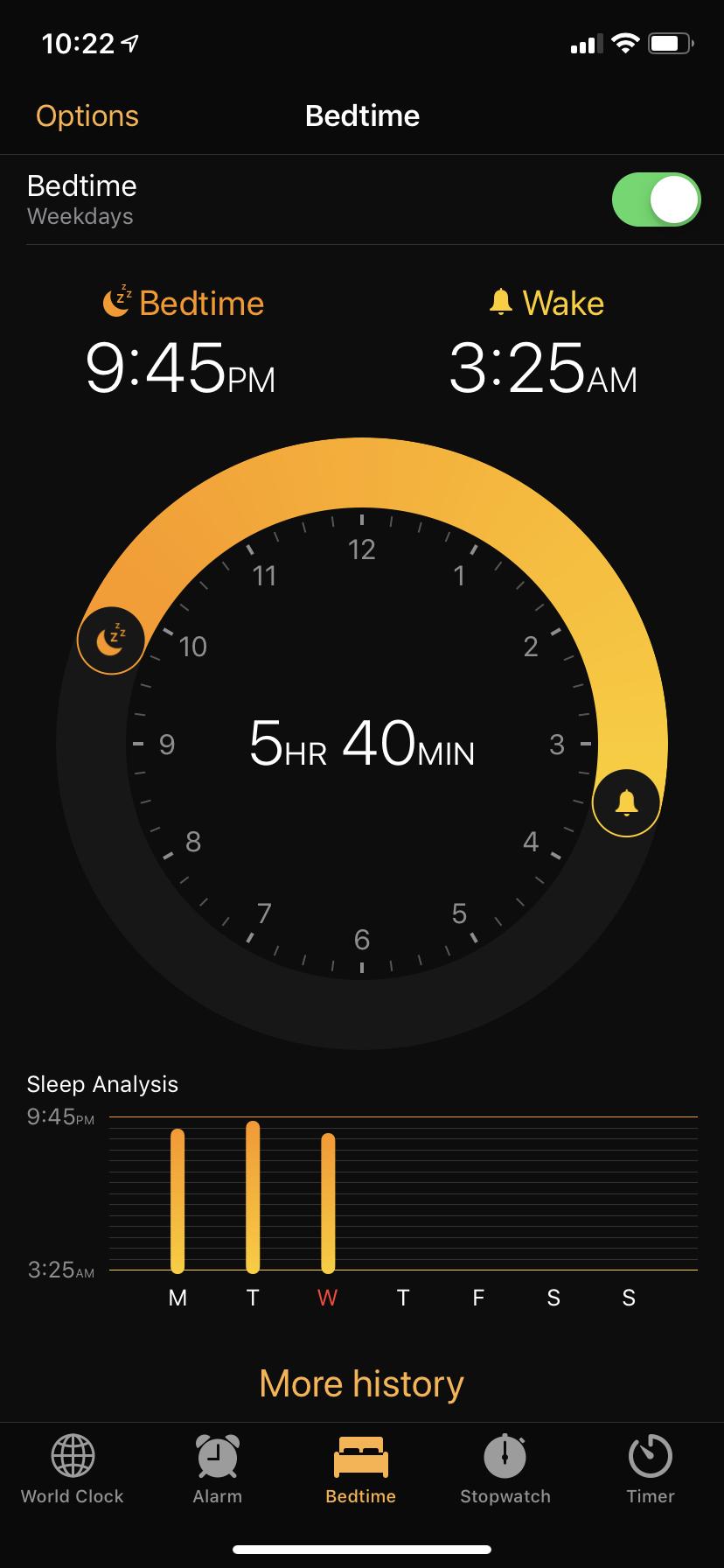 my iPhone Bedtime Settings
