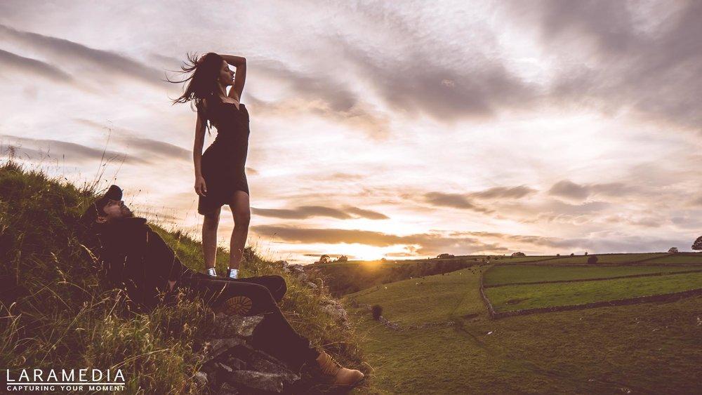 Isabel Oliveira - Shot at Peak District, sunset. Music video album cover.
