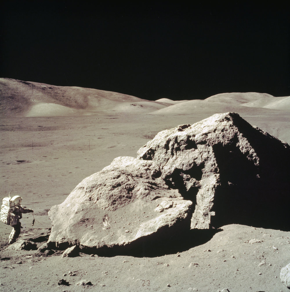 Apollo 17 Harrison H. Schmitt collects rock samples near the Tourus-Littrow Valley. Image credit: NASA/MSFC