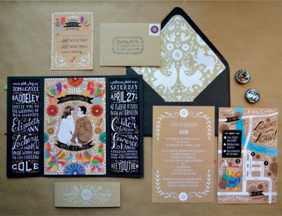 folk wedding invite