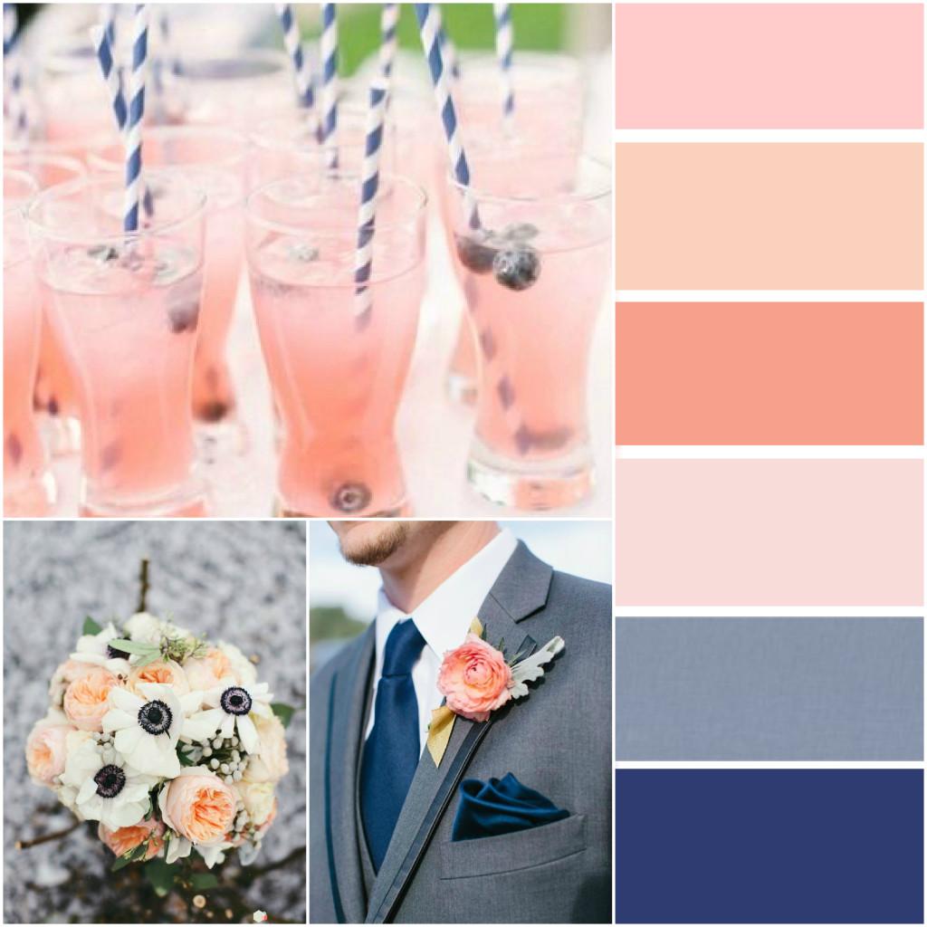 Navy and Peach Wedding Colour