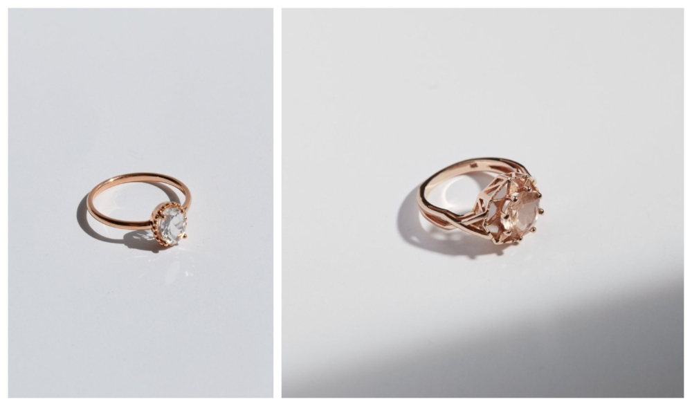 From left to right:  Galatée Ring with White Topaz in Rose Gold ,  Star of Fez Ring with Morganite in Rose Gold