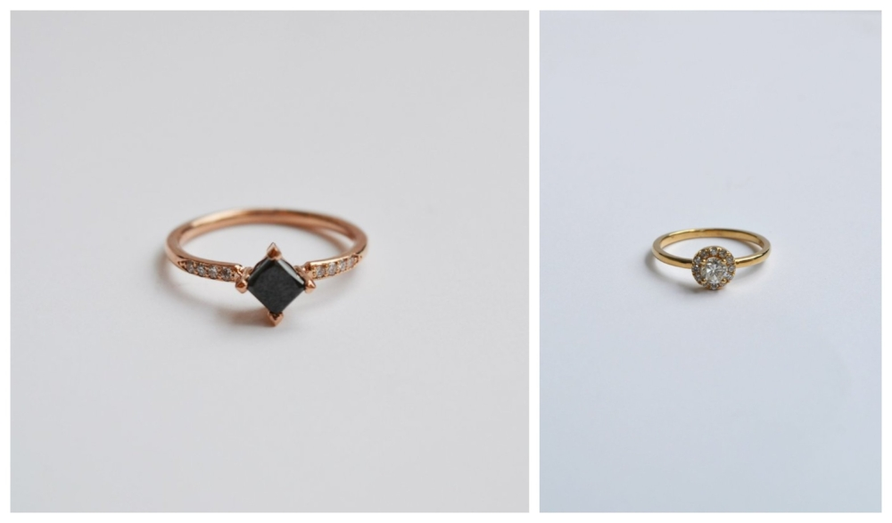 from left to right:  Harmonie Ring with Black Diamond in Rose Gold   Round Halo Diamond Ring In Gold