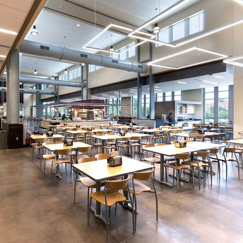 4. - Build a new dining facility with a commercial kitchen.