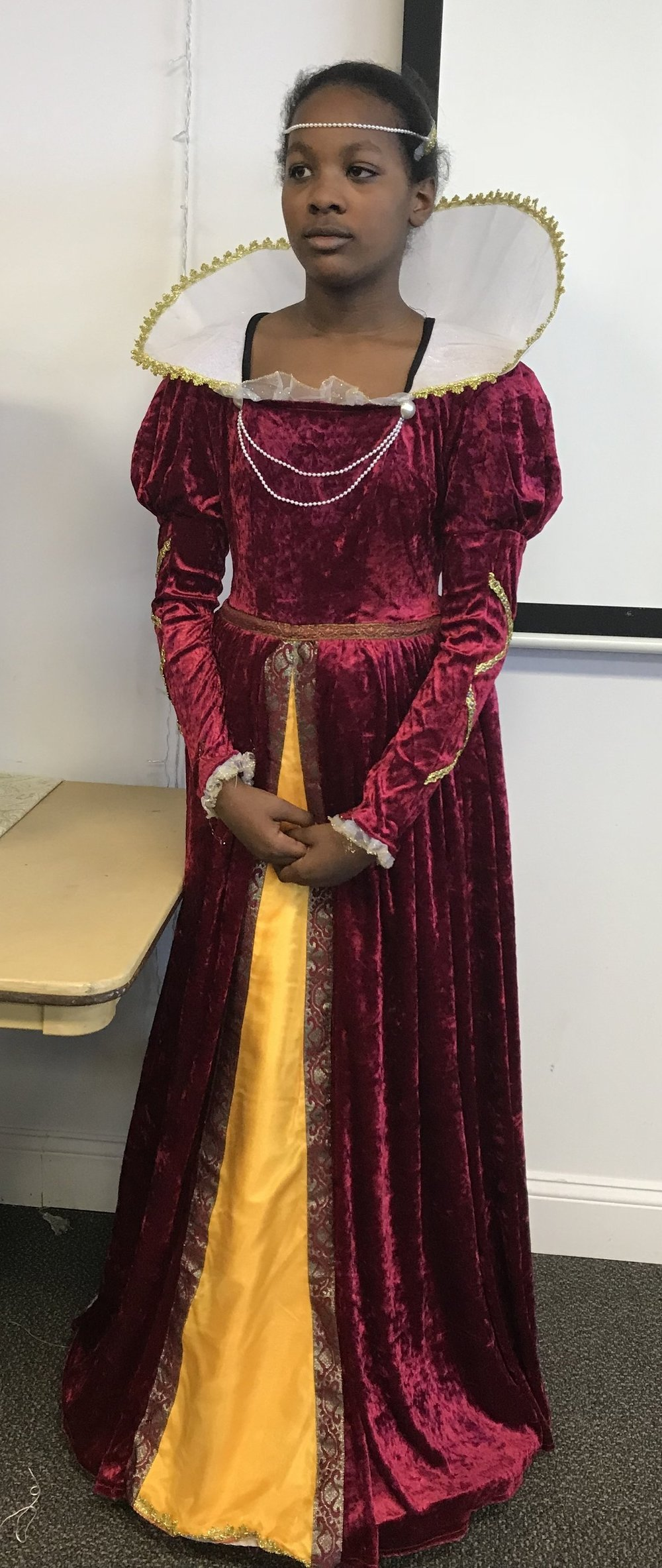Brianna Small received 1st place for her presentation as Queen Elizabeth I.