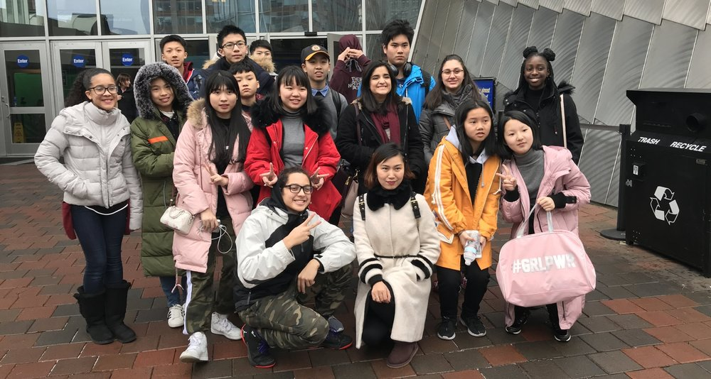 Our current students take a trip to the New England Aquarium with our international student group from Huandong English Language School from China.