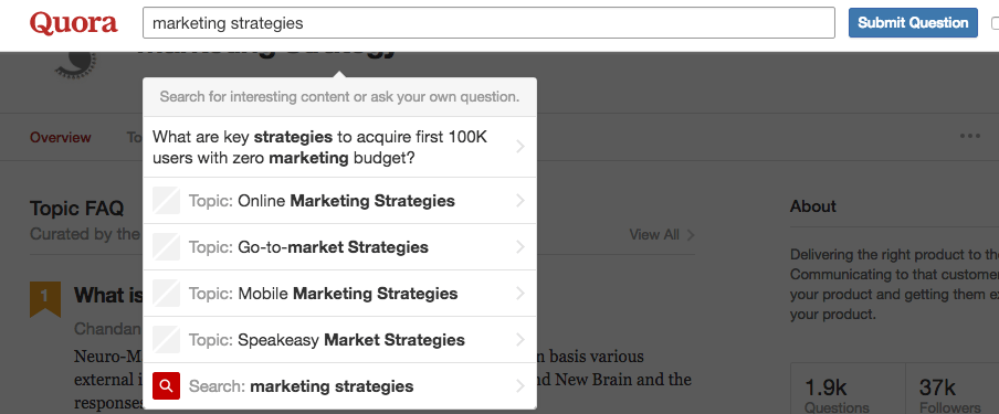 Quora is powerful audience builder.