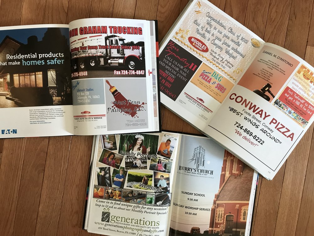 Advertise with Us - Support student journalism and the Shawnee Yearbook at Freedom Area High School by becoming a patron in our 2020 book!If you'd like to place an ad for your business in the 2020 Shawnee Yearbook, please remit your payment and completed contract to:Shawnee Yearbook1190 Bulldog DriveFreedom, PA 15042Enclose your ad, image(s), or logo(s) with your mailing, email them to ads@freedomarea.org, or work with our student staff to design a custom ad to suit your needs. We'll create a design based on your specifications and even send you an approval proof before we place the ad in this year's book. It couldn't be easier to advertise with us!For more information about placing an ad in this year's book, please email ads@freedomarea.org, or complete and submit the Business Ad Contract to the left. If you would like to create and submit your own ad, please refer to the ad size and resolution specifications on the contract.We greatly appreciate your business and support!