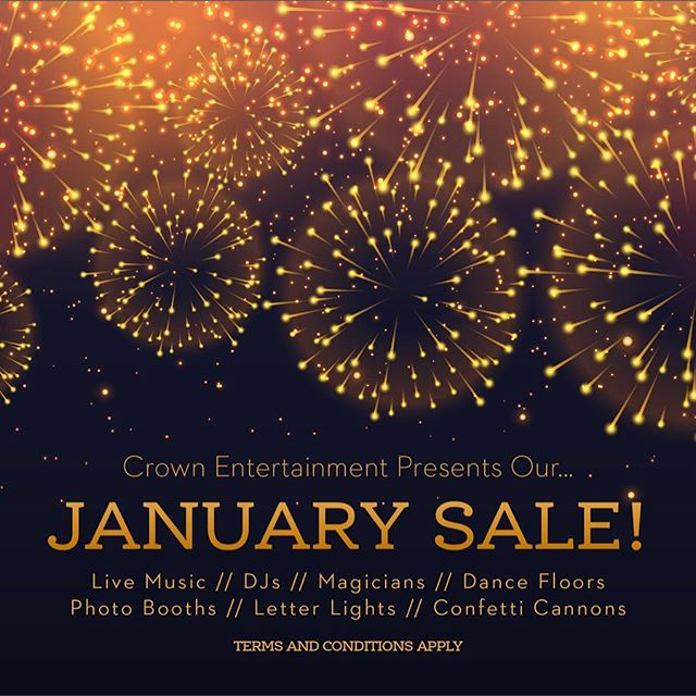 Running until the 31st January! Grab yourself some top quality entertainment at a bargain price - https://www.crown-entertainment.co.uk/january-sale #DJ #livemusic #dancefloor #photobooth #plymouth #entertainment