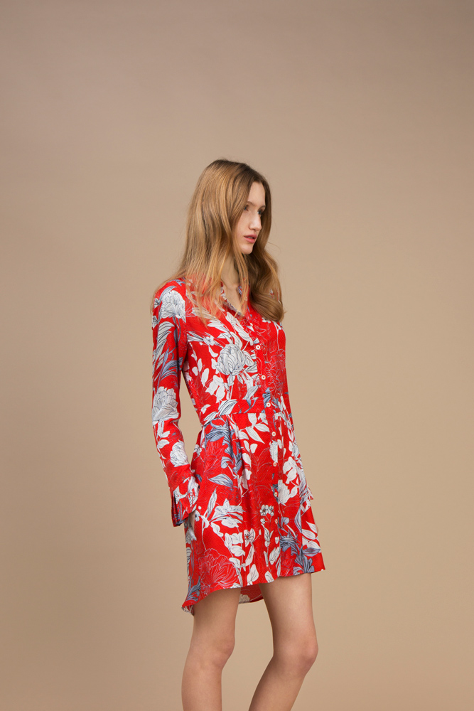 Crepe silk Short and asymmetric dress — Red Carnation
