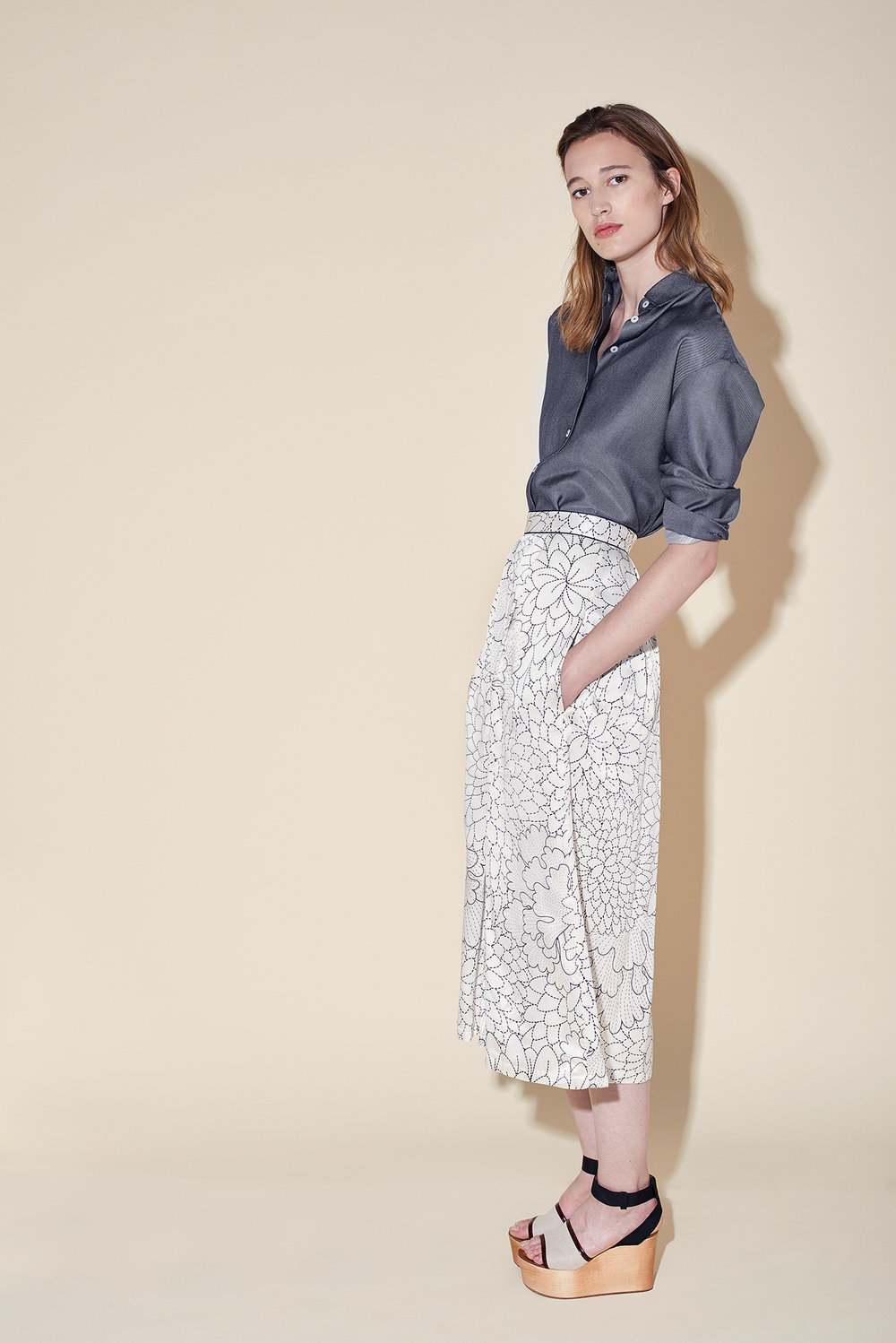 Man shirt silk denim - Culottes silk seersucker blossom