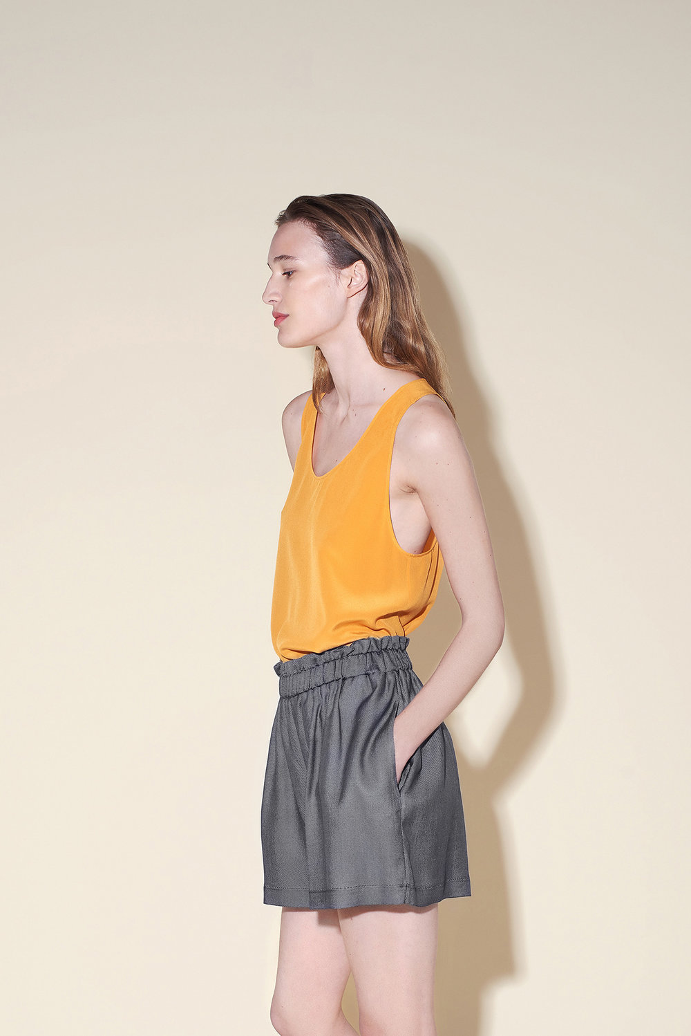 Tank top silk crepe orange – Short silk denim