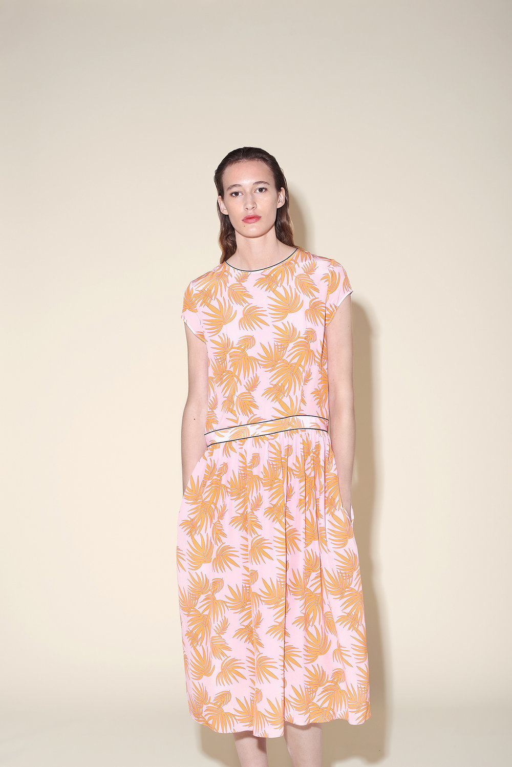 Curve long dress silk crepe tropical orange