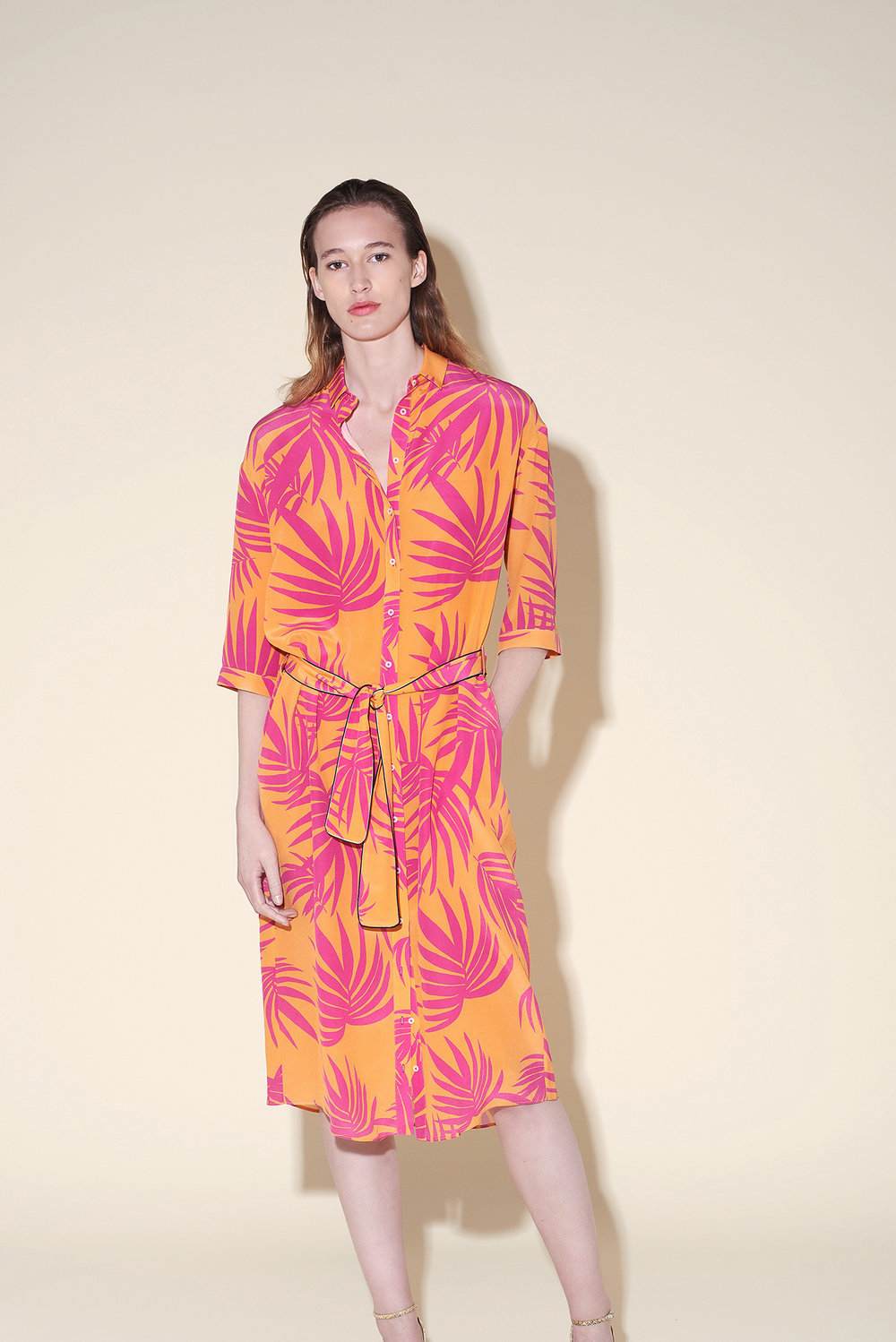 Long shirt dress with belt silk crepe tropical fushia