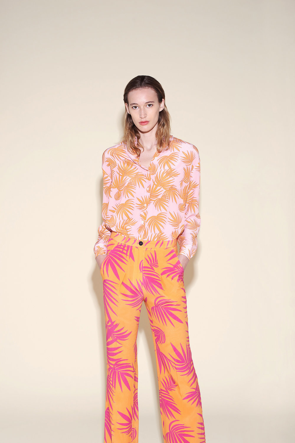 Man shirt silk crepe tropical orange - Large pant silk crepe tropical fushia