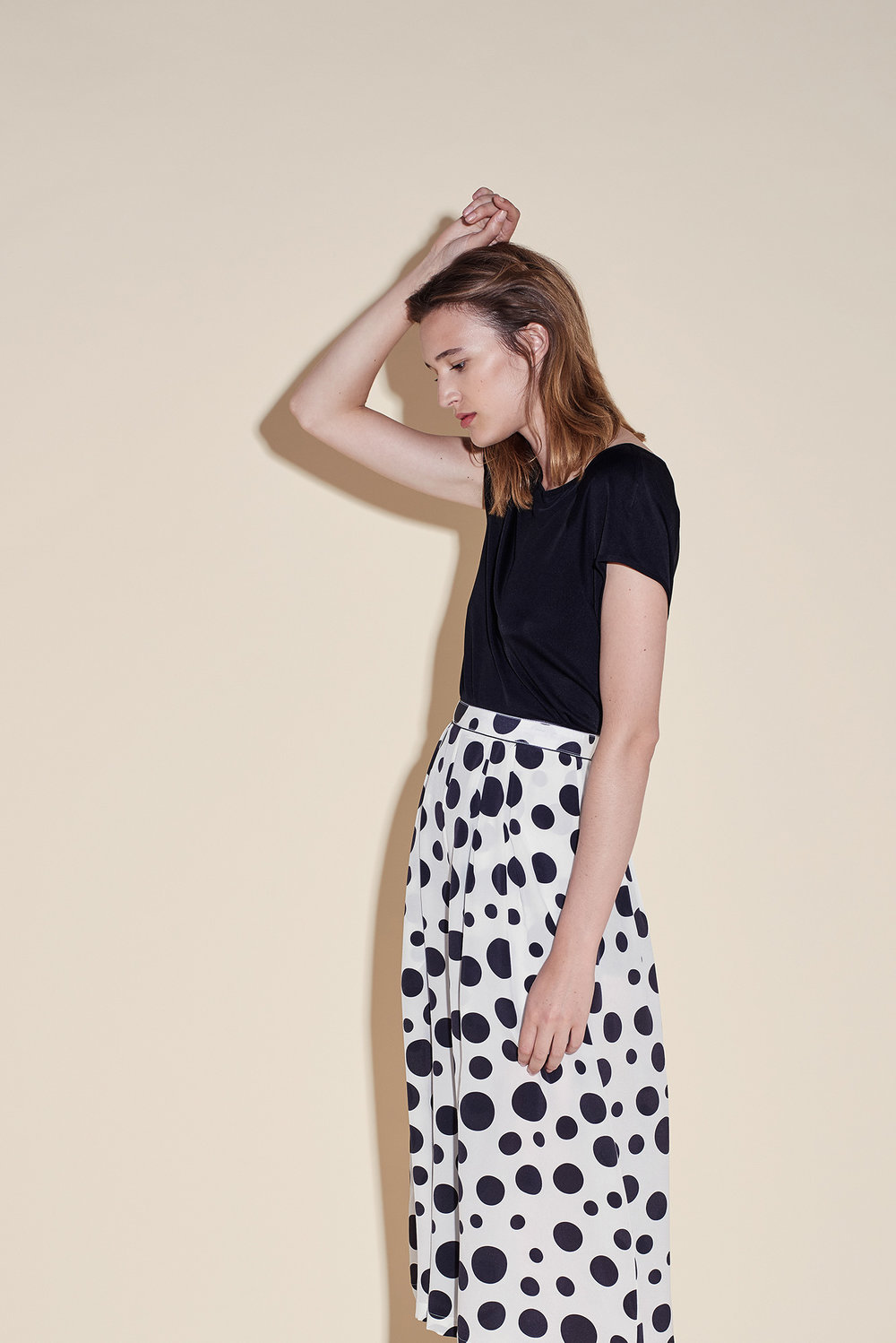 Culottes crepe silk polka dots black – short sleeves top silk jersey black