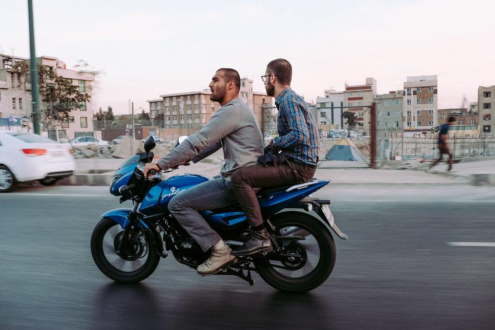 Singing motorist and his pillion - Tehran