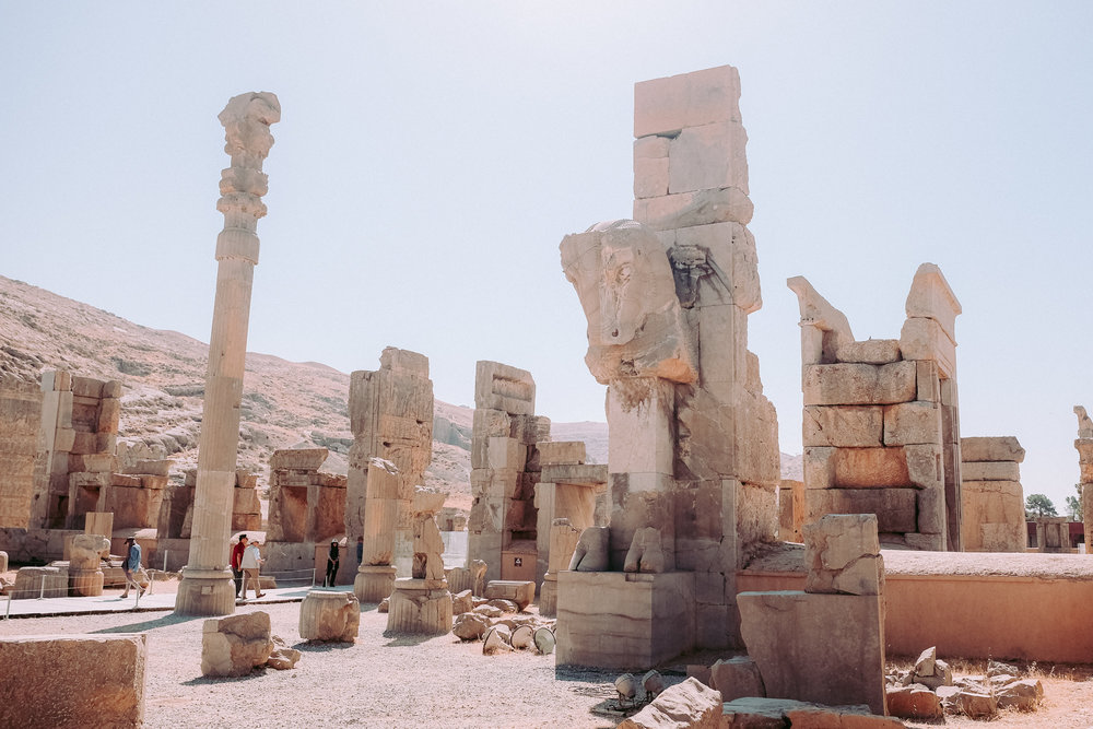 Chinese tourists at the hall of a hundred columns - Persepolis
