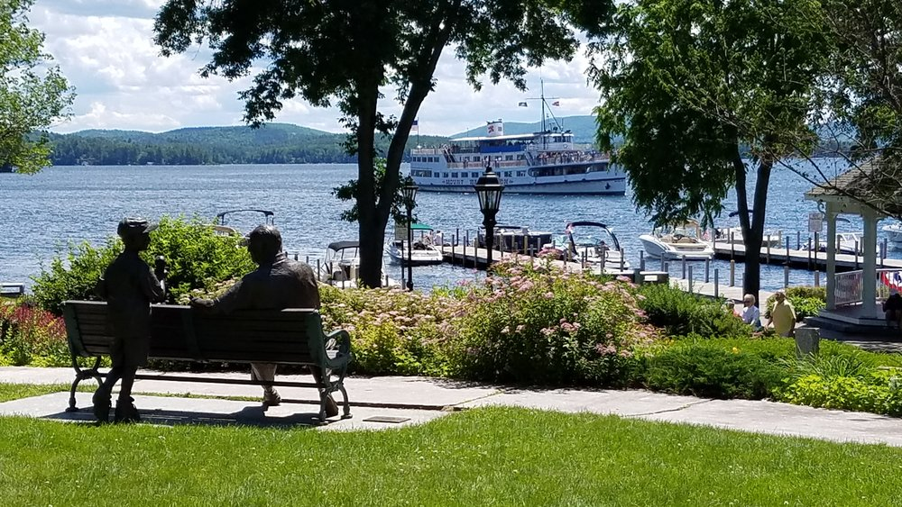 Cate Park overlooking Wolfeboro Bay. The S/S Mt. Washington is arriving to dock in Wolfeboro.  Photo courtesy Brenda Jorett.