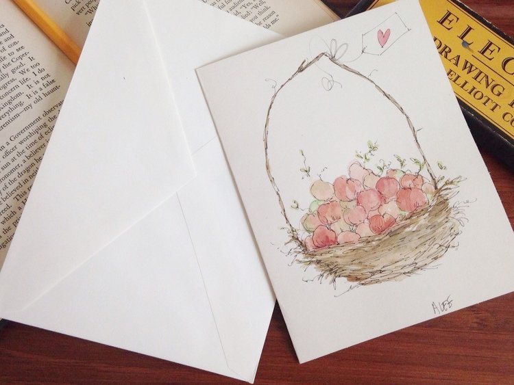 Hand painted original watercolor greeting card w envelope 5 x 7 hand painted original watercolor greeting card w envelope 5 x 7 blank card mothers day miss you get well love school teacher frie m4hsunfo