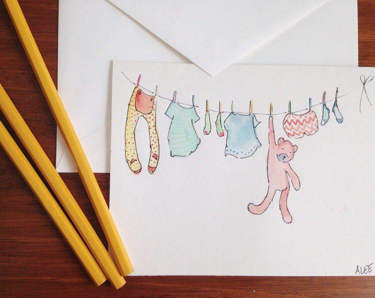 Hand Painted Original Watercolor Greeting Card W Envelope 5x7
