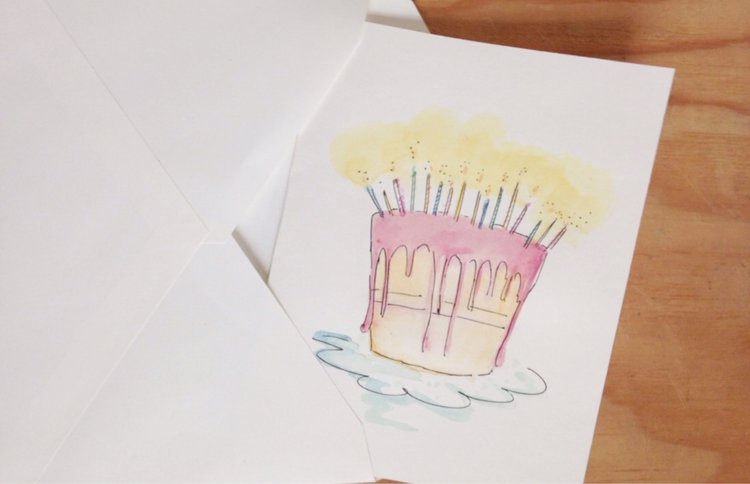 Hand painted greeting card with envelope original watercolor and hand painted greeting card with envelope original watercolor and ink painting original art blank card birthday congratulations m4hsunfo