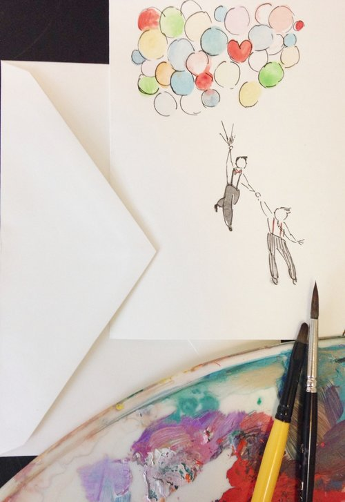 Hand Painted Greeting Card Blank Card Love Anniversary
