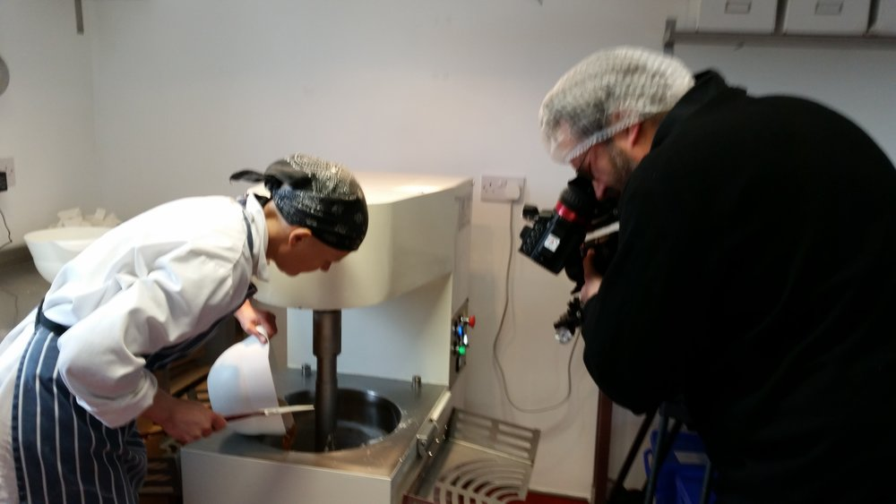 April 2016 we had another chance to be filmed - this time for the EU, and here Paul-Michel from 1Minute40 is filming me busily making nougat.