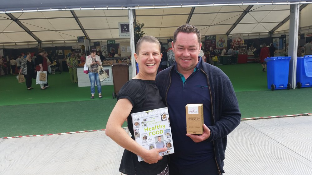 "Lucky me at Bloom with Neven Maguire, whose  ""The Nation's Favourite Healthy Food""  is still one of my favourite cook books!!"